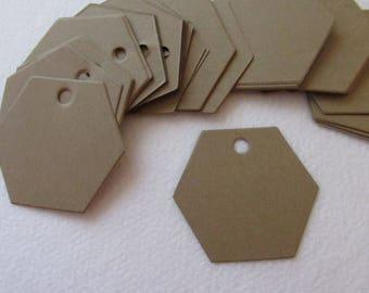 """50 Blank 2"""" Hexagon shaped Kraft tags, gift tag, hang tag NO STRINGS"""