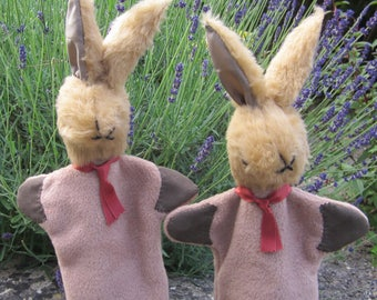 Rabbit Glove Puppet Brown Plush Toy Activity Toy Shower Gift Teaching Aid Mum and Dad Gift Sister Present Gift for Brother Activity Toy Gift