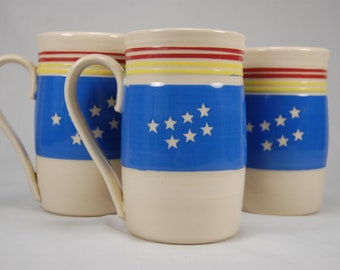 20 oz hand thrown coffee mug - Durham flag design