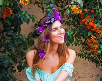 Ultra Violet Butterfly Crown, Purple Floral Crown, Boho Festival Flower Crown, Woodland Wedding, Headpiece, Butterfly Headdress, Headband