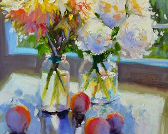 Art Print, MASON JARS, roses and daisies, impressionistic art, gift for mom, Christmas gift