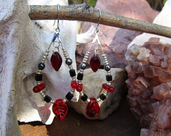 Loop Earrings~Jablonex Czech Pressed Glass~Leaves~Black and Red~Morrigan-Dark Goddess~Samhain~Pagan~SET #1