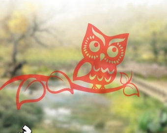 Window Decal Owl On Branch Translucent Decal Window Decoration Window Decals Translucent Windows