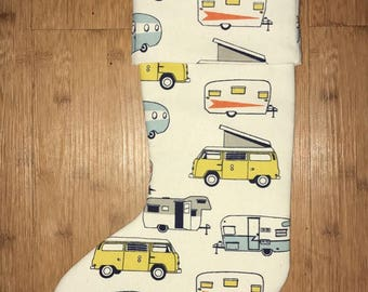 Funky Christmas Stockings - VW Volkswagen Bus - Yellow and Orange