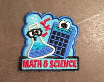 Math & Science Merit Badge Mathematics and Calculator Square Root + - Beaker Glasses Googley Eyes Goggles STEM Scout Patch