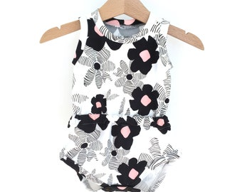 Baby girl romper, printed FLOWERS
