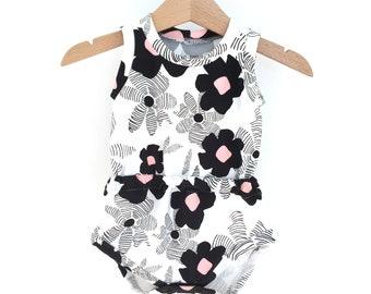Baby girl romper, printed FLOWERS