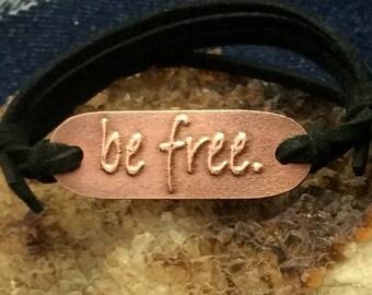Adjustable 'Be Free' Copper Metal Clay Charm Bracelet