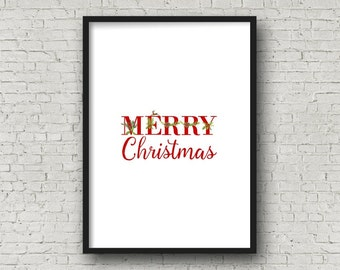 MERRY CHRISTMAS Red Alphabet Printable, DIY Wall Art, Cards, Crafts, Easy to download and print.