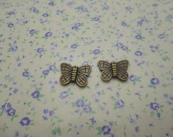 50 pcs of antique bronze color metal butterfly bead pendant charm , 15*11mm , MP393