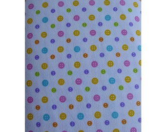 Cotton Flannel Fabric, Ricrac Paddywack~Multicolor Buttons By Henry Glass