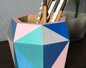 Geometric Wood Planter in Pastel blue and pink // pencil holder storage container for office or desk