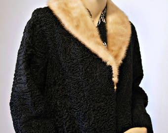 1950's Fur Jacket Black Lamb Mink Collar Plush Warm Size Small - Medium