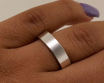 Sterling Silver Wedding Band - Simple Wedding Ring - Eternity Ring - Minimalist Ring - Promise Ring for Her - Promise Ring for Him