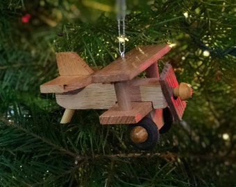 Wooden Airplane Ornament