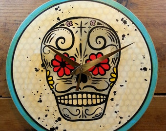 Day of the Dead Skull Wall Clock (White)