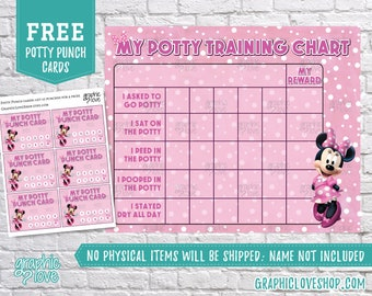 Printable Minnie Mouse Potty Training Chart, FREE Punch Cards | Disney Junior, Bowtique | Digital JPG Files, Instant download, NOT Editable