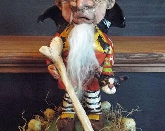 Folk Art Halloween Bone Collector Skeleton Fairy Garden Collector Outsider Art Ooak