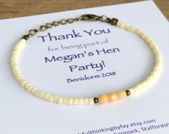 THANK YOU Hen Party Friendship Bracelets, Hen Gift, Hen Party Gift, Personalised, UK Seller