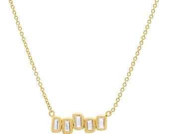 Baguette Diamond Necklace, Baguette Pendant, 14K Gold Necklace, Diamond Necklace, Diamond Charm, Tula Jewelry.