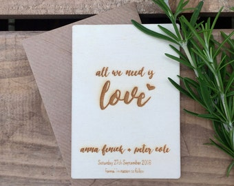 SAMPLE // Engraved Wooden Save the Date All We Need is Love // 105 x 74mm // Wedding Invitation