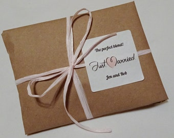 Specialty Coffee Wedding Favors in Kraft Paper Wraps - with Personalized Labels.  20 Count. Custom Favors. Freshly Roasted Coffee.