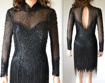 90s does 20s VIntage Black Flapper Dress in Black Size Small By LIllie Rubin// Black Beaded Fringe Dress Size Small