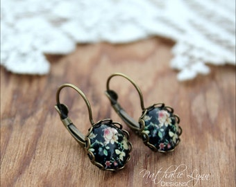 Rose Floral Earrings, Floral Earrings, Floral Jewelry, Drop Earrings, Dangle Earrings,  Boho Earrings, Rose Jewelry, Rose Earrings