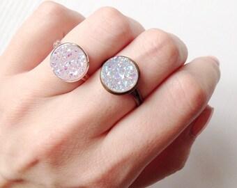 Lilac Druzy Ring | Silver or Bronze Tone | Faux Druzy Rings | Boho Ring | Gypsy Jewelry | Sparkly | Druzy Jewelry