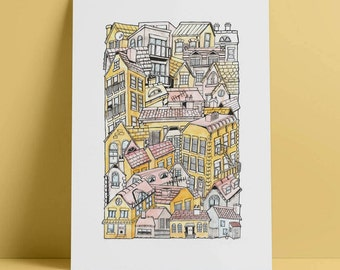 Buildings A4 illustrated stacking cityscape print