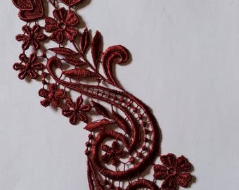 1 applied lace Guipure Venice Scrapbooking Burgundy dark