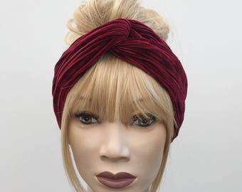 Burgundy luxury pleated crushed velvet turban twist headband