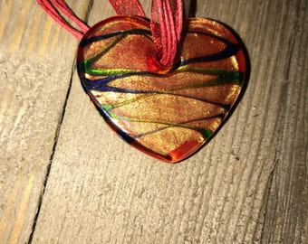 Red twine and red ribbon with heart pendant