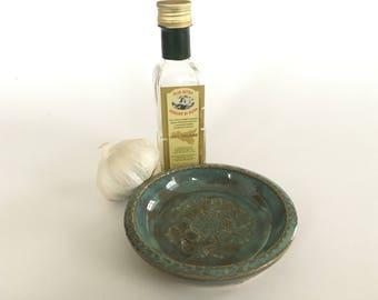 Garlic grater dish-aqua gingko leaves-pottery condiment dish