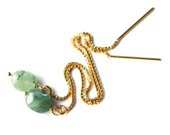 Gold Emerald Earrings, Genuine Emerald Threader Earrings, Long Sterling Silver Green Gemstone Chain Earrings, May Birthstone Thread Earrings