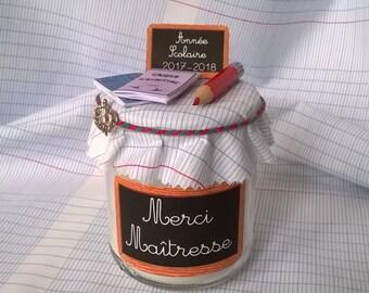 """Cadeau Maître ou Maîtresse  Bougie cadeau Étiquette """"Merci""""  personnalisable"""