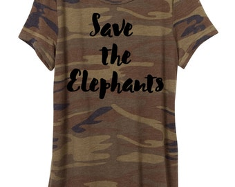 Woman Camo Shirt, Save the Elephants T-shirt, elephants, eco jersey shirt, women's,  ladies, Camouflage, Small, Medium, Large, XL