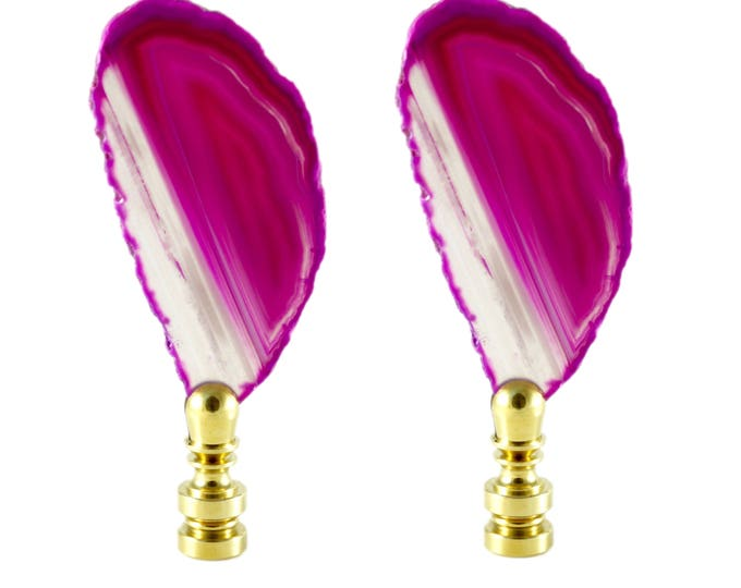 Pink Agate Lamp Finials-Set of Two--Lighting Hardware--Bohemian Bedroom--Hippie Decor