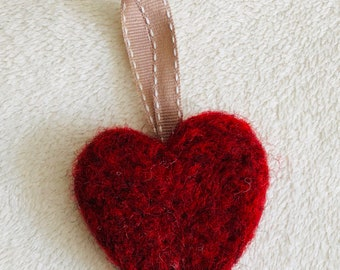 Felted hanging heart