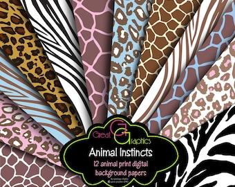 Animal Print Paper Animal Print Digital Paper Zebra Print Leopard Print Digital Animal Print Instant Download