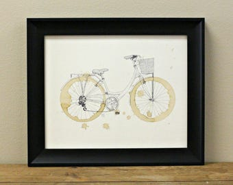 Vintage Coffee Bike Art Print - Bike with Basket