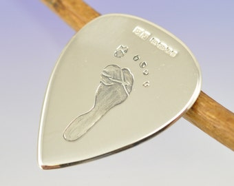 Personalised Hand or Foot Print guitar plectrum, pick. Your print hand engraved on Sterling Silver