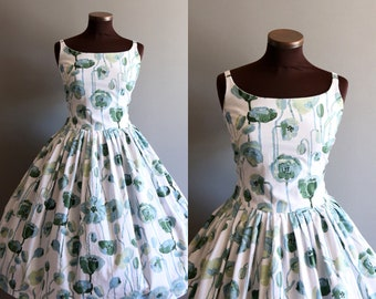 1950s Style White and Blue Green Floral Print Full Pleated Skirt Cotton Dress XL