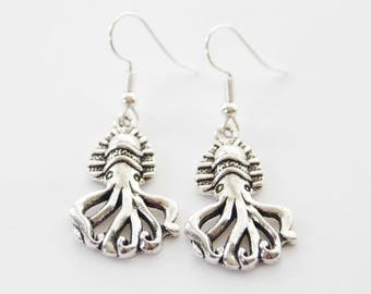 Nautical Earrings, Giant Squid Earrings, Silver Squid Earrings, Steampunk Squid Earrings, Silver Squid Jewelry