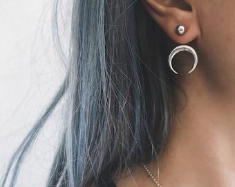 Sterling silver ear jacket,moon earrings,double horn ear jackets,silver 925 moon earrings,silver studs earrings,crescent horn earrings,orb