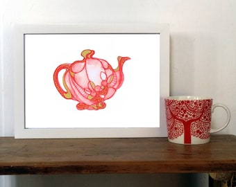 Red Teapot Print Whimsical Kitchen Art Instant Download Digital Printable