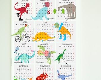 2018 Printable Dinosaur Calendar, Download, Calendar 2018, Nursery Calendar, Dinosaur, New year gift, kids calendar, Nursery Calendar