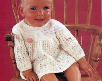 """Baby Angel Tops 3-ply, 4-ply and DK 18-20"""" Studley 1031 Vintage Knitting Pattern PDF instant download"""