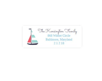 Return Address Labels - Nautical - Red, Blue and White - Sailboat - Personalized - Custom
