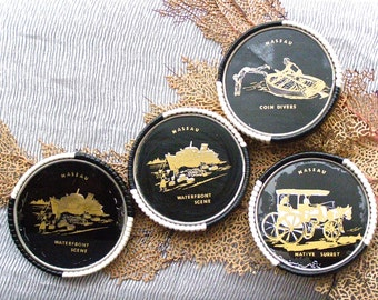 Retro Barware, Vintage Coasters, Coaster Holder Made in West Germany, Nassau Souvenir, Drinkware,  Black White Set of 4, Bahamas Souvenir